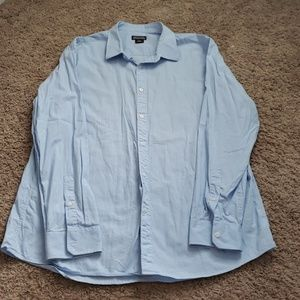 3/$30 Light blue and white pinstripe button down